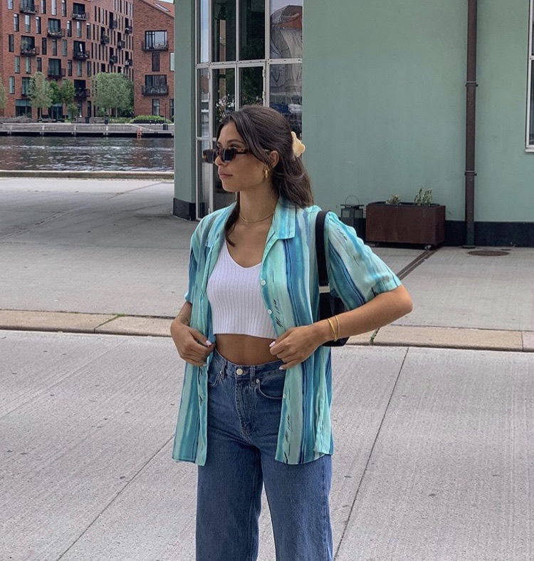 blue blouse, white crop top, and fashionista fashionable image