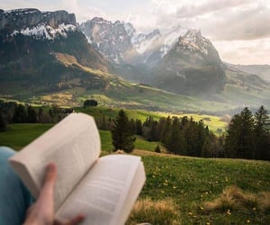 bibliophile, nature, and reading image