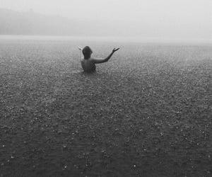 rain, sea, and black and white image