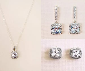 bridal jewelry, bridal necklace, and stud earrings image