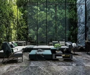 architecture, green, and living room image