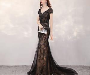 black dress, girl, and lace dress image
