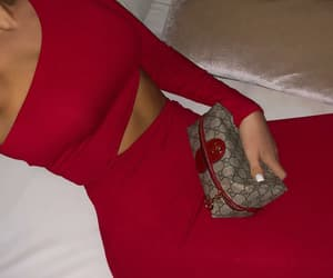 dress, red dress, and fancy image