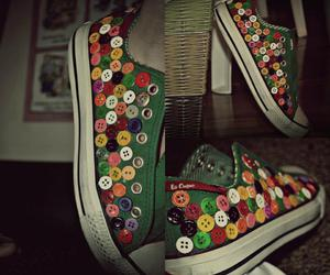 buttons, shoe, and colorful image