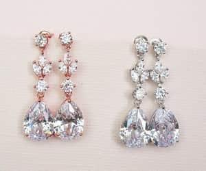 bridal earrings, bridesmaids earrings, and rose gold earrings image