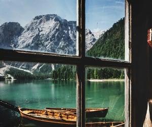 mountains, boat, and lake image
