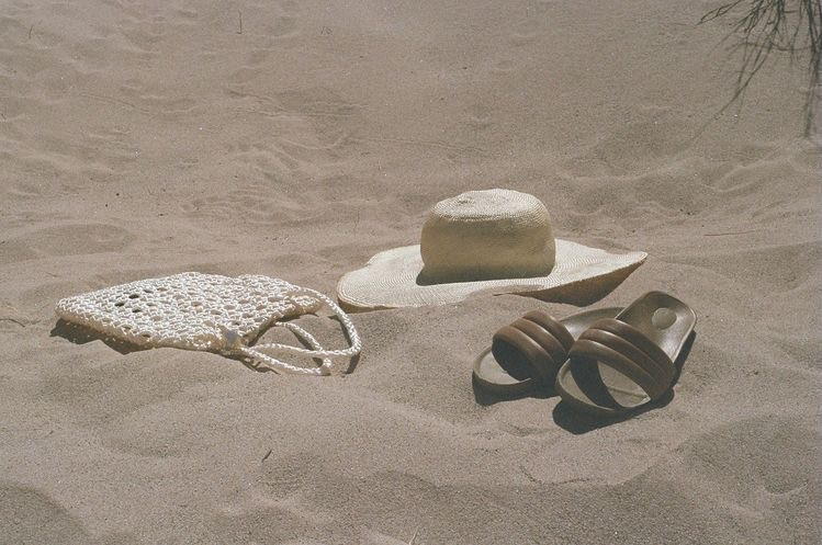 bag, beach, and hat image