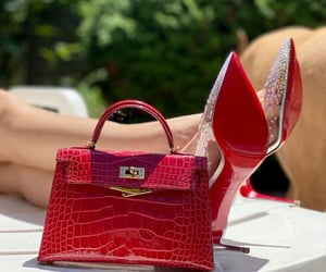 heels, purse, and red image