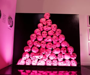 installation, stacked, and pink image