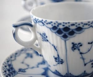 blue and white, tea cup, and vintage image