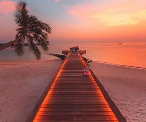 beach, sunset, and Maldives image