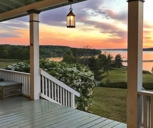 sunset, house, and nature image