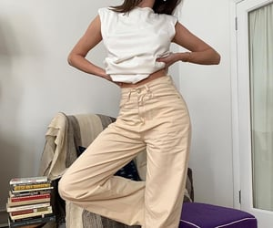 white tee shirt, wide leg pants, and fashionista fashionable image