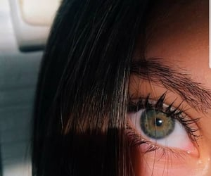 eyes, green, and hair image