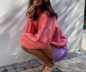 short dark hair, sunny smile, and baby blue heels image