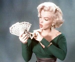Marilyn Monroe, money, and vintage image