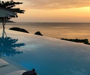 sunset, travel, and pool image