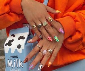 nails, milk, and nail art image
