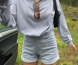 grey shorts, grey outfit, and oversized hoodie image