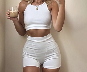 gold jewelry, white tank top, and fashionista fashionable image