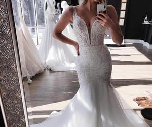 dress, gown, and marriage image