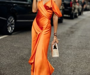orange dress, street style, and model off duty image