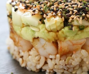 avocado, shrimp, and sushi cake image