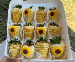 sunflower, strawberries, and yellow image
