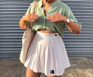 gold jewelry, white mini skirt, and outfit of the day ootd image