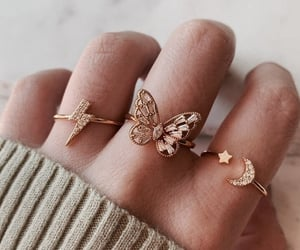 butterfly, gold, and ring image