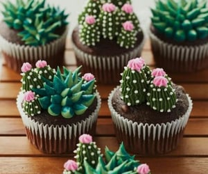 cactus, cupcake, and green image
