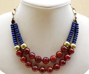 beads, blue, and earrings image