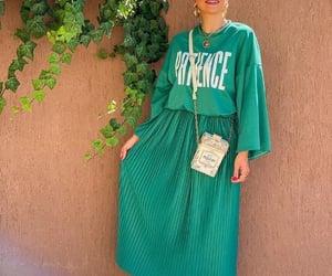 green sweatshirt and green maxi skirt image