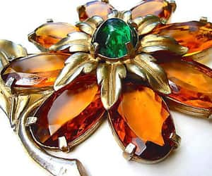 etsy, large floral brooch, and emerald green image