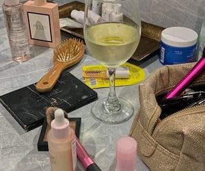 makeup, skincare, and wine image