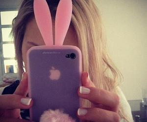 blond, iphone, and rabbit image