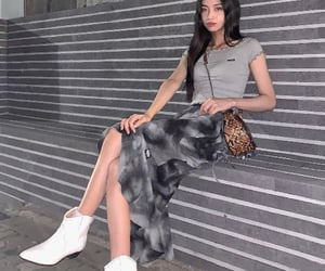 animal print, grey, and outfit image