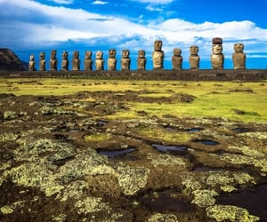 easter island, wonder, and rock statues image