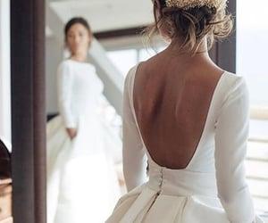 wedding dress, vintage wedding dress, and satin wedding dress image