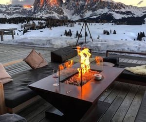 mountains, architecture, and couch image