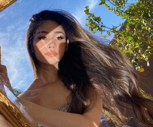 garden, woman, and long hair image