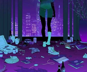 art, purple, and night image