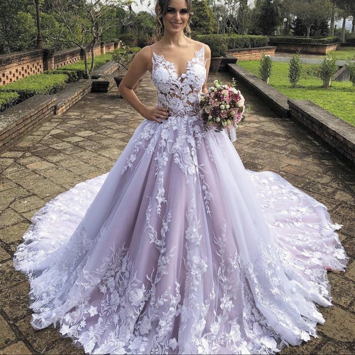 Boho Luxury Wedding Dresses 2020 Lace Applique Floral Elegant Purple Ball Gown Wedding Gowns Vestido De Novia,Printable Wedding Dress Template