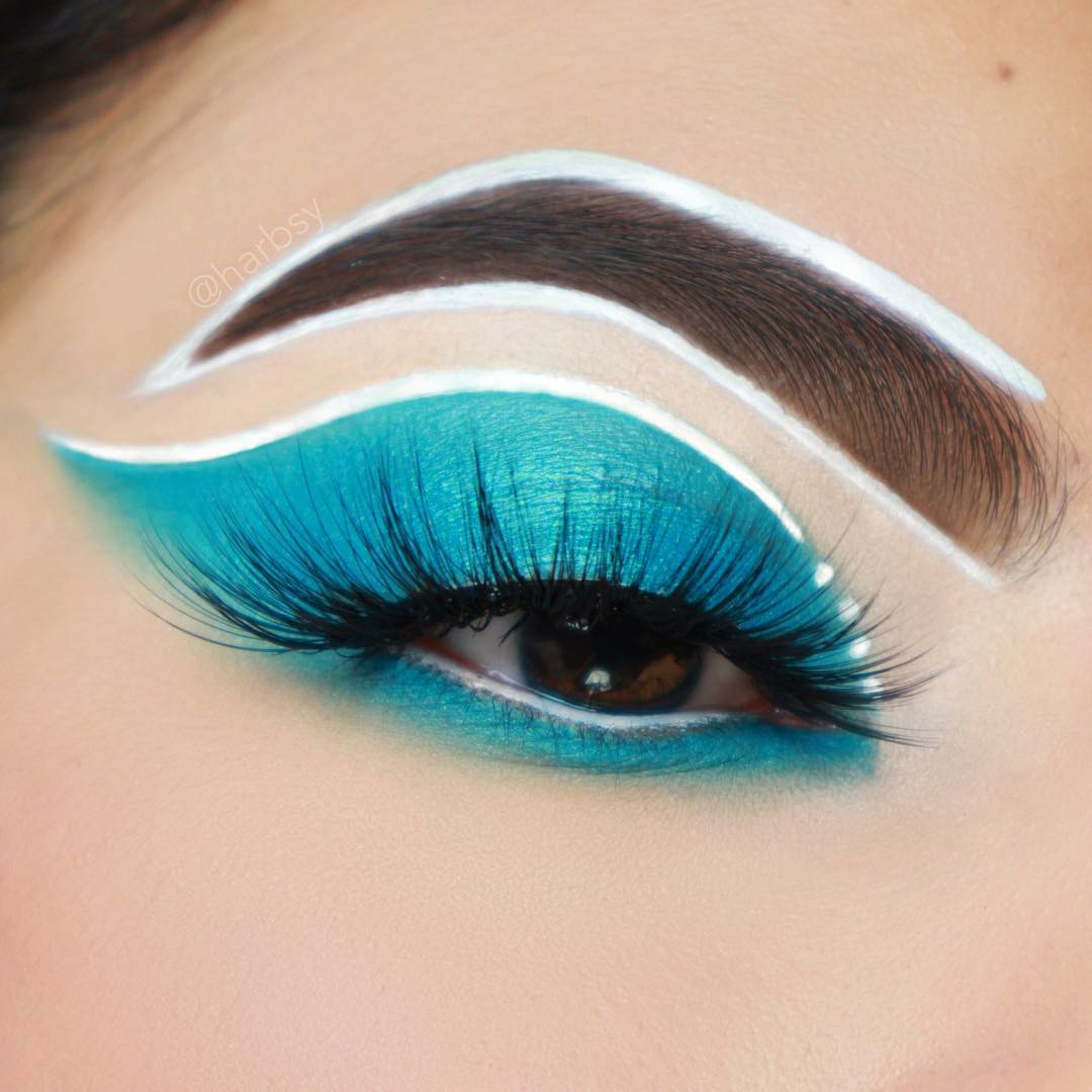blue, eyebrows, and eyeliner image