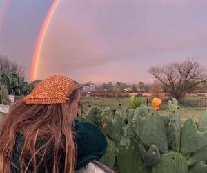 girl, hippie, and rainbow image