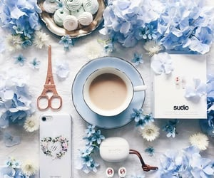 blue, coffee, and flowers image