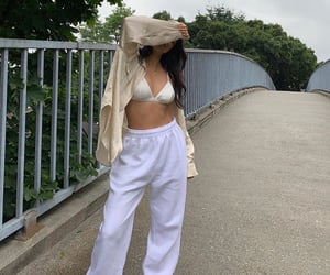 white sneakers, summer outfit, and white sweatpants image