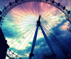 sky, london, and ferris wheel image