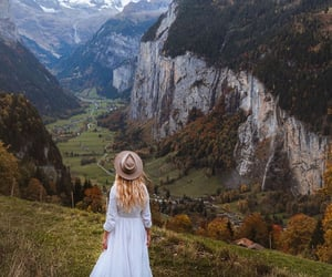 girl, mountain, and valley image