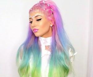 arcoiris, hair, and belleza image